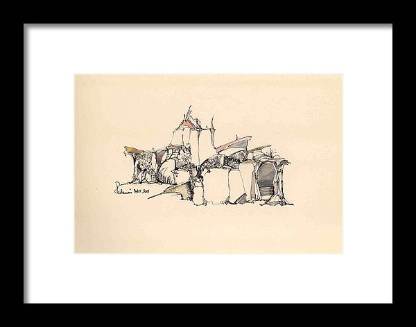 Landscape Framed Print featuring the drawing Surrealscape 7 by Padamvir Singh