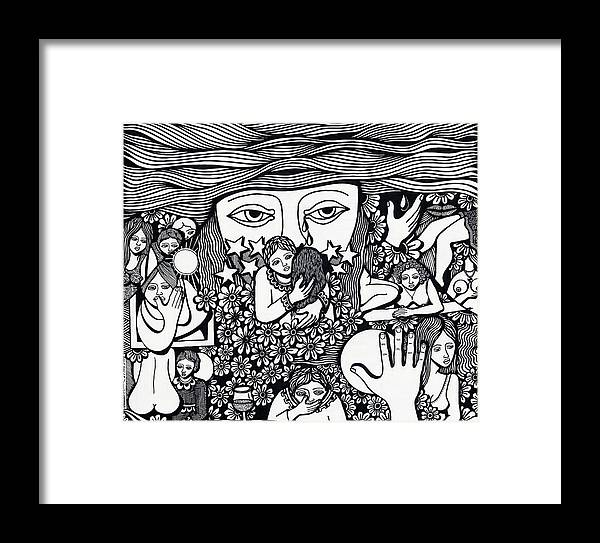 Drawing Framed Print featuring the drawing Surround Yoursel With Roses Love Drink And Be Silent The More Is Nothing by Jose Alberto Gomes Pereira