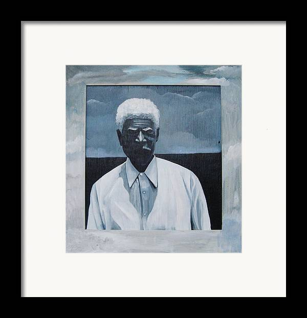 Man Framed Print featuring the painting Survivor James by Joyce Owens