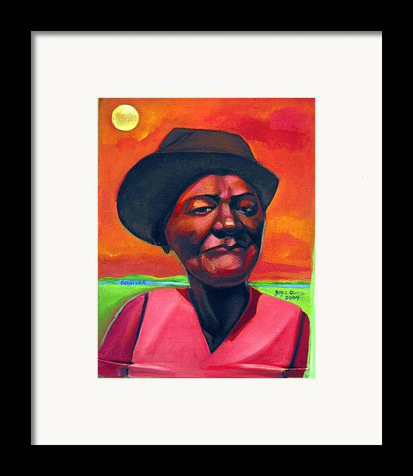 African Framed Print featuring the painting Survivor Spirit Mollie by Joyce Owens