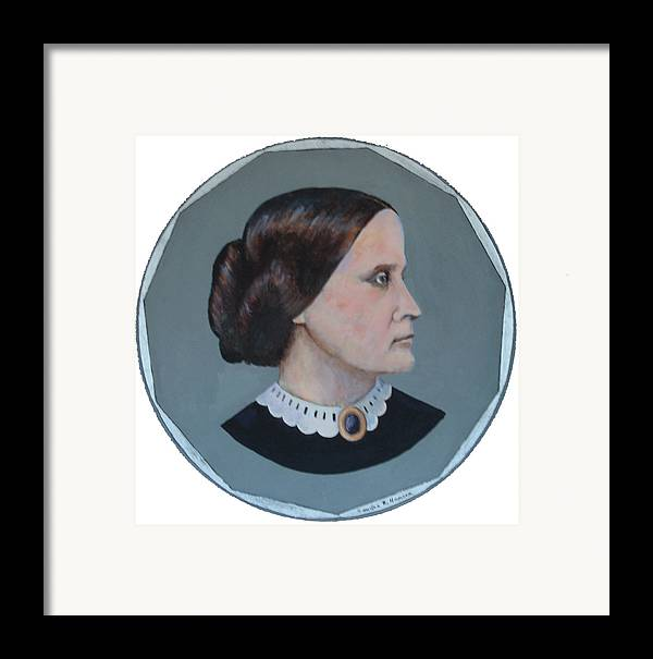 Susan B. Anthony Framed Print featuring the painting Susan B Anthony Coin by Art Nomad Sandra Hansen