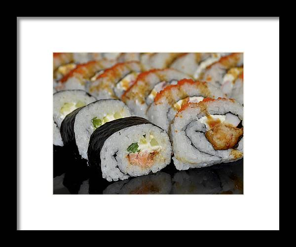 Sushi Framed Print featuring the photograph Sushi Rolls From Home by Carolyn Marshall