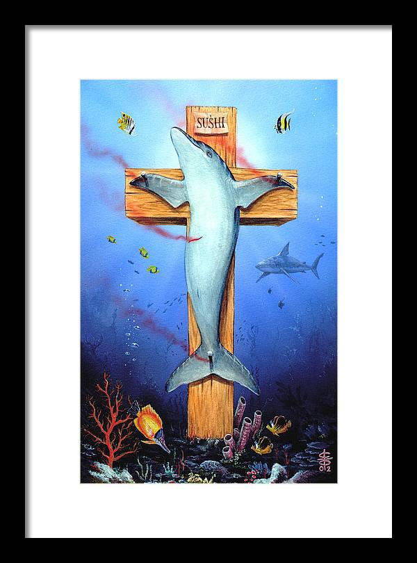 Dolphin Framed Print featuring the painting Sushi by Victor Whitmill