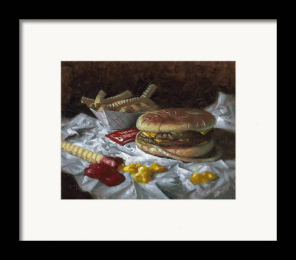 Hamburger Framed Print featuring the painting Suzy-q Double Cheeseburger by Timothy Jones