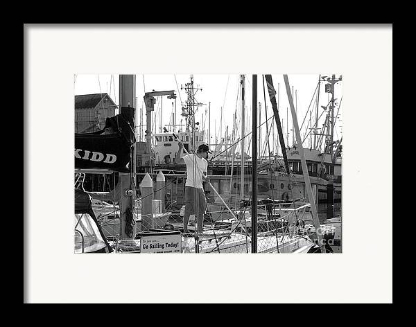 Boat Framed Print featuring the photograph Swabbing The Deck by Betty LaRue