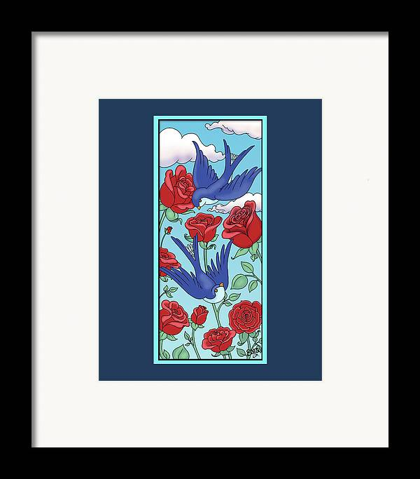 Birds Framed Print featuring the digital art Swallows And Roses by Eleanor Hofer