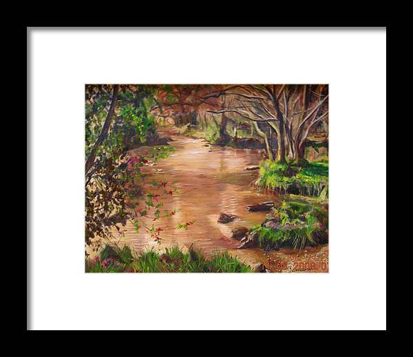 Landscape Framed Print featuring the painting Swamp by Olga Kaczmar