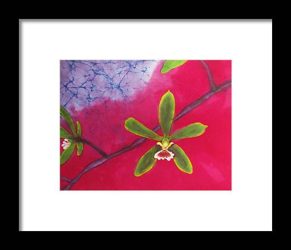 Orchid Framed Print featuring the tapestry - textile Swamp Orchi Fine Art Batik by Kay Shaffer