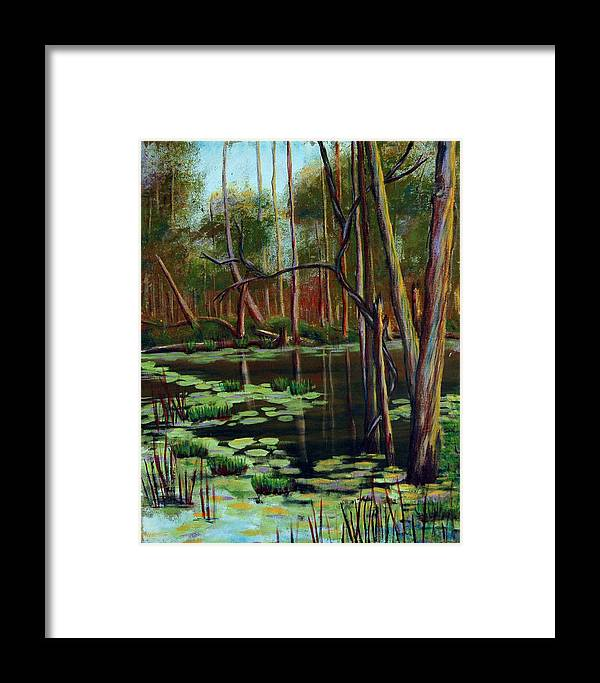 Swamp Framed Print featuring the painting Swamp Reflections by Art Nomad Sandra Hansen
