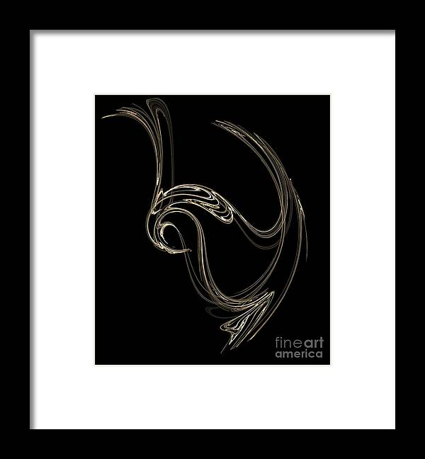 Fractals Framed Print featuring the digital art Swan Dance by Richard Rizzo