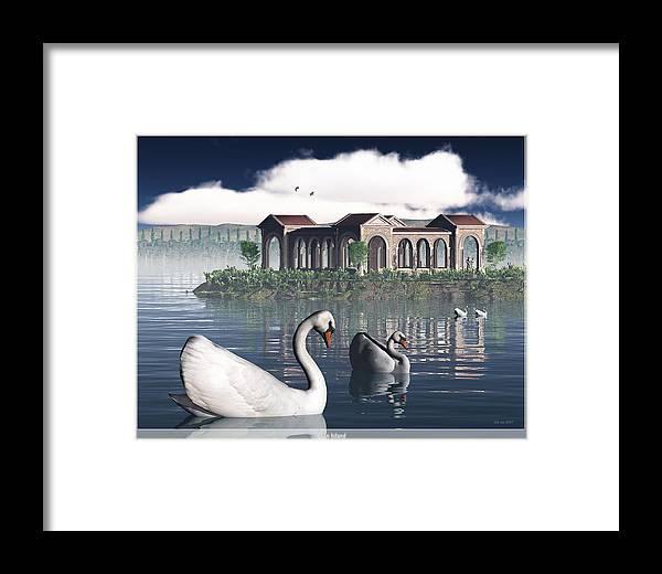 Jim Coe Framed Print featuring the digital art Swan Island by Jim Coe