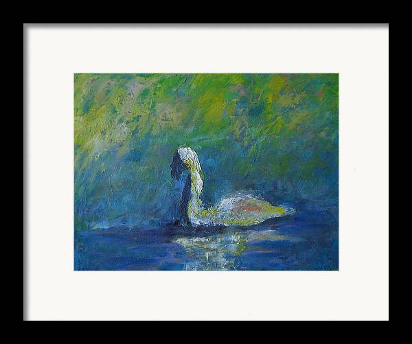 Impressionism Framed Print featuring the painting Swan by Lou Ewers