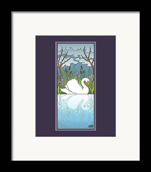 Swan Framed Print featuring the digital art Swan On The River by Eleanor Hofer