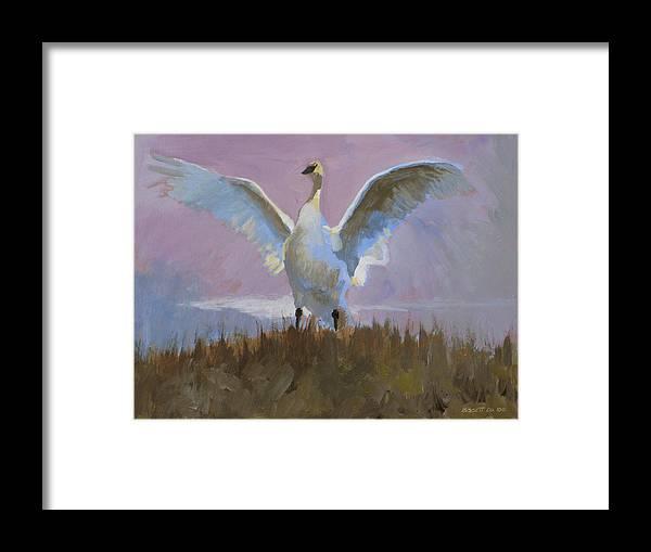 Bird Nature Tonal Purple Swan Lake Mist Framed Print featuring the painting Swan by Robert Bissett