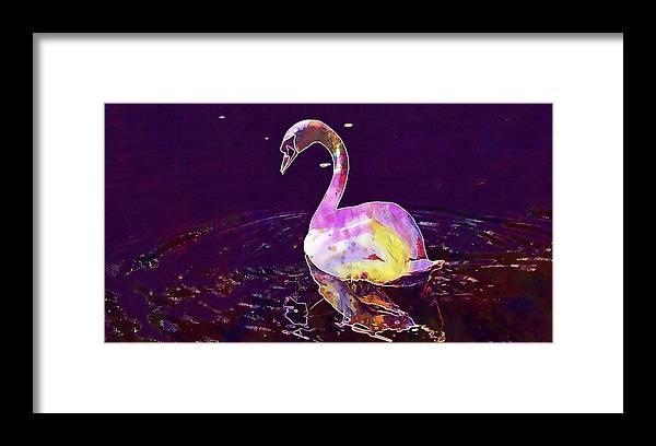 Swan Framed Print featuring the digital art Swan Water Bird Water River by PixBreak Art