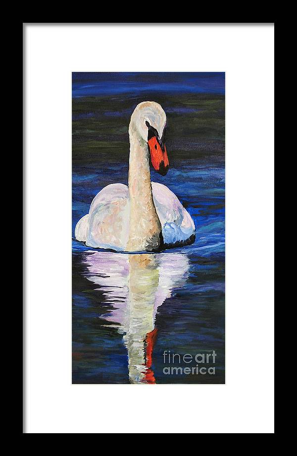 Swan Framed Print featuring the painting Swan Wildlife Art by Mary Jo Zorad