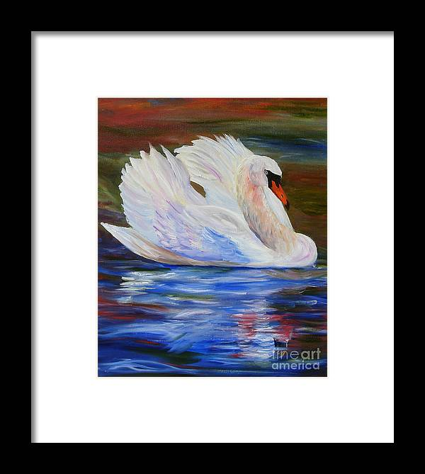 Swan Framed Print featuring the painting Swan Wildlife Painting by Mary Jo Zorad