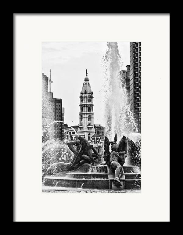 Fountain Framed Print featuring the photograph Swann Memorial Fountain In Black And White by Bill Cannon