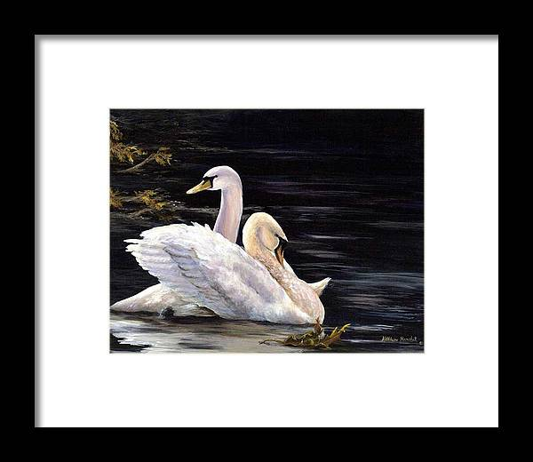 Swans Framed Print featuring the print Swansong by Kathleen Marshall McConnell