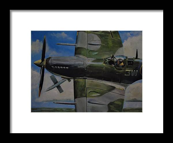 Spitfire Framed Print featuring the painting Swatting The Bug by Terence R Rogers