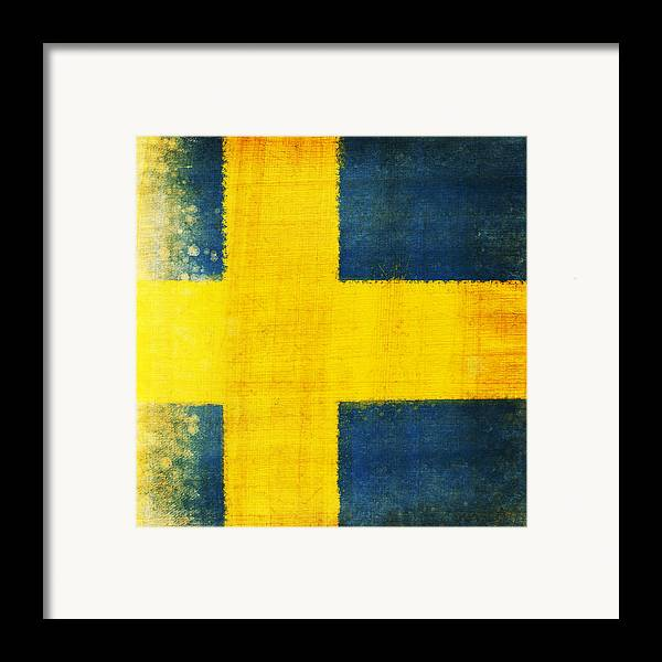 Sweden Framed Print featuring the painting Swedish Flag by Setsiri Silapasuwanchai