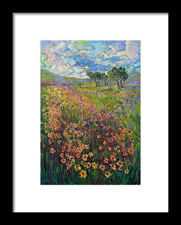 Pacific Northwest Framed Print featuring the painting Sweep of Wildflowers by Erin Hanson