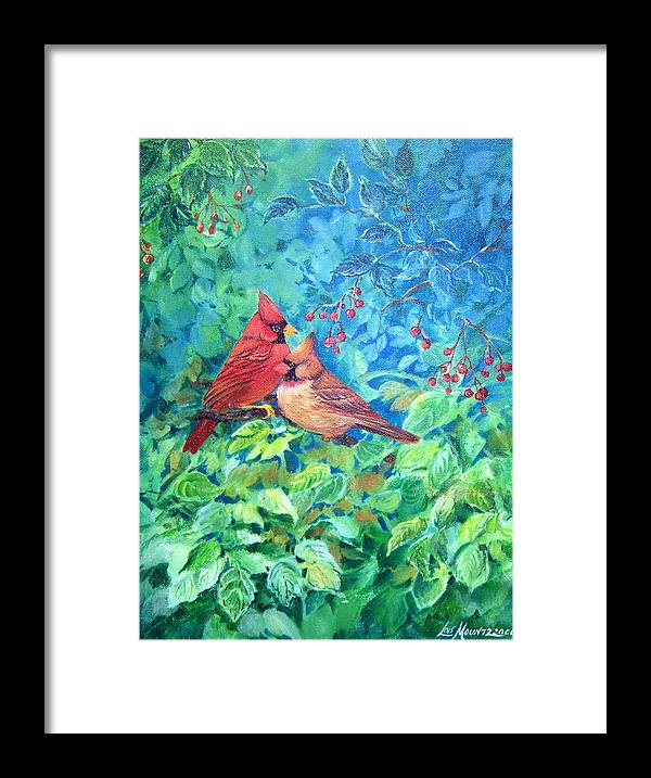 Cardinals;birds;berries; Framed Print featuring the painting Sweet Contentment by Lois Mountz