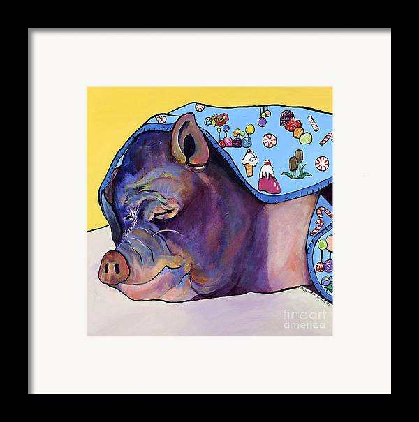 Farm Animal Framed Print featuring the painting Sweet Dreams by Pat Saunders-White