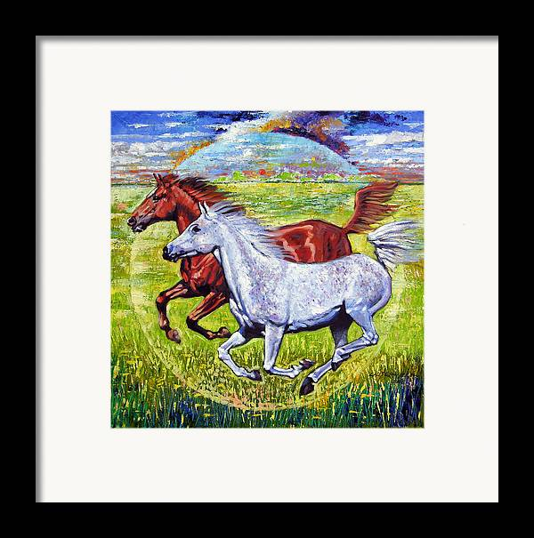 Horses Running Framed Print featuring the painting Sweet Harmony by John Lautermilch