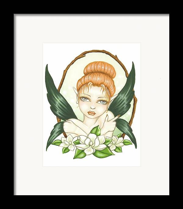 Magnolia Framed Print featuring the painting Sweet Magnolia Fae by Elaina Wagner
