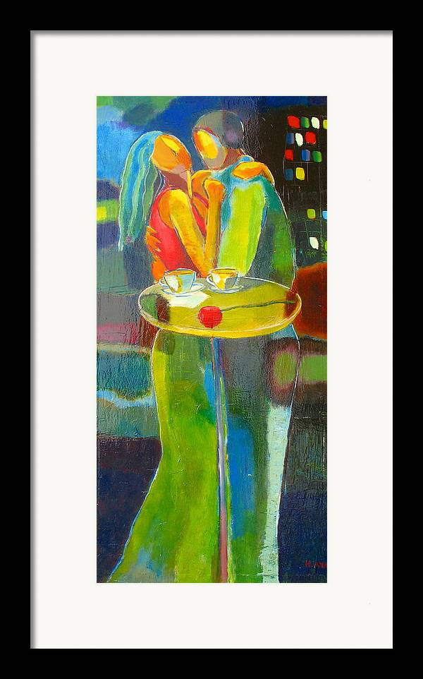 Love Framed Print featuring the painting Sweet Moment by Habib Ayat