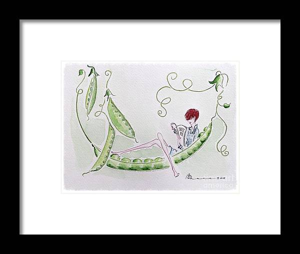 Pea Pod Framed Print featuring the painting Sweet Pea by Barbara Chase