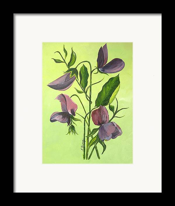 Flower Framed Print featuring the painting Sweet Peas by Murielle Hebert