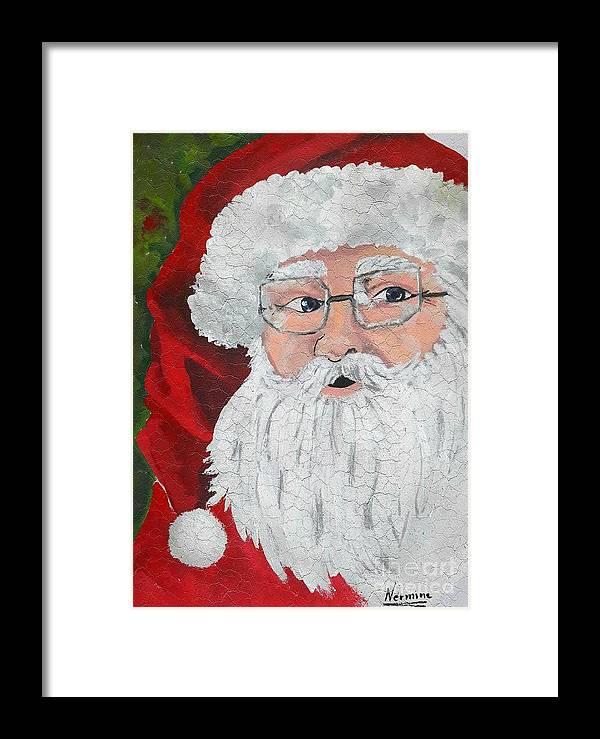 Sweet Santa Claus Framed Print by Nermine Hanna