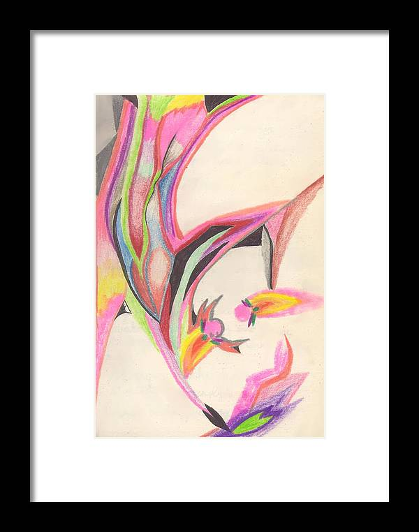 Abstract Framed Print featuring the drawing Sweet Spring by Peter Shor