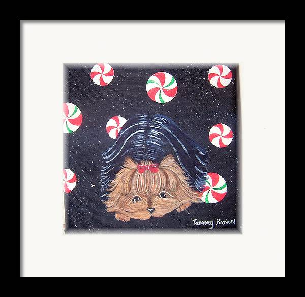 Dog Framed Print featuring the painting Sweet Treats For Yorkie by Tammy Brown