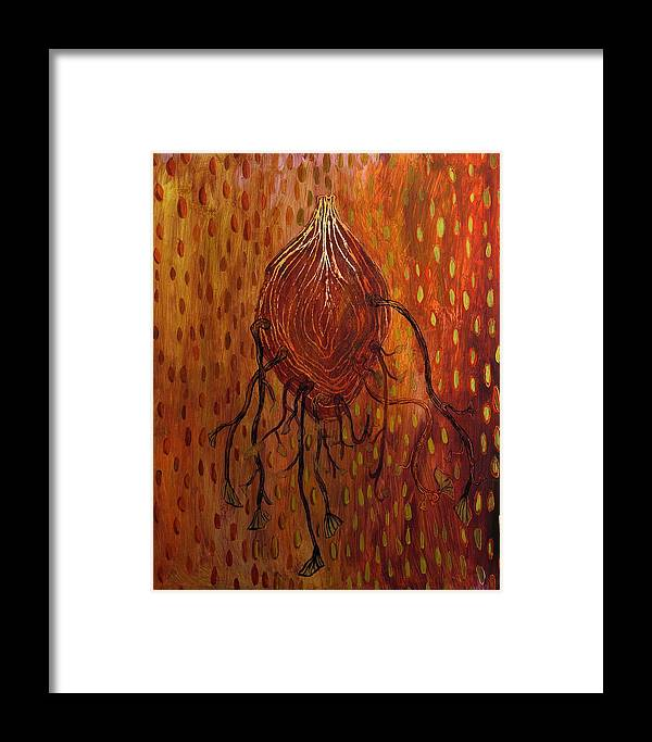 Organic Framed Print featuring the painting Sweet Tuber Vine by Angela Dickerson