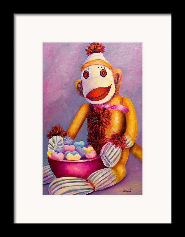 Heart Framed Print featuring the painting Sweetheart Made Of Sockies by Shannon Grissom