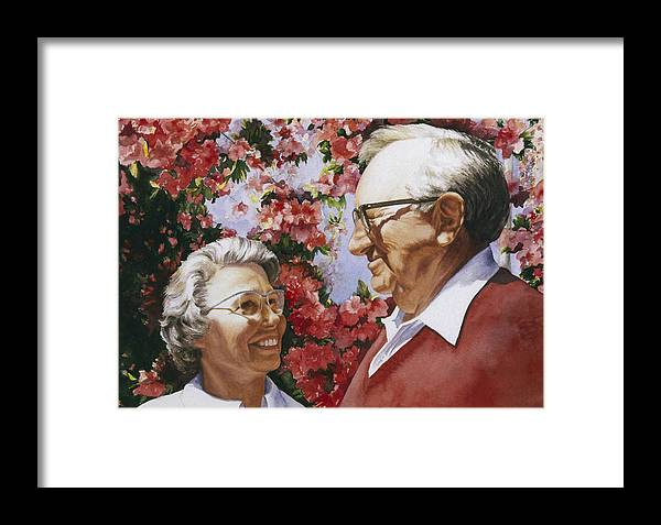 Watercolor Framed Print featuring the painting Sweethearts by Nancy Ethiel