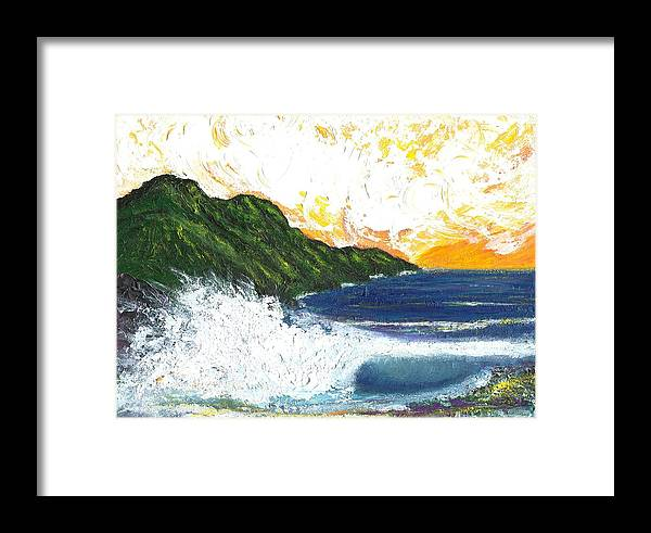 Seascape Framed Print featuring the painting Swept Away by Laura Johnson