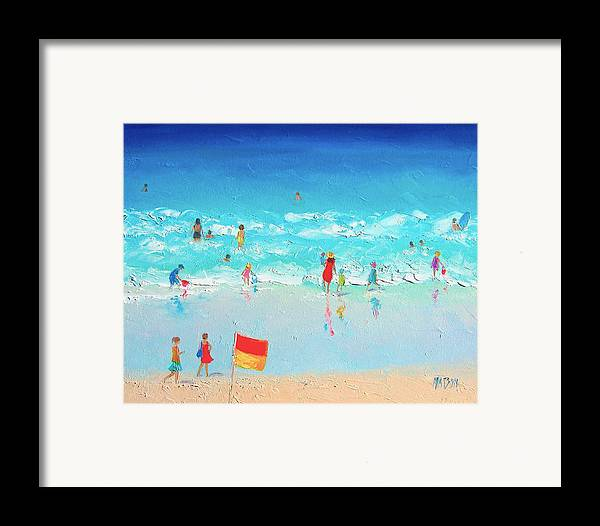Beach Framed Print featuring the painting Swim Day by Jan Matson