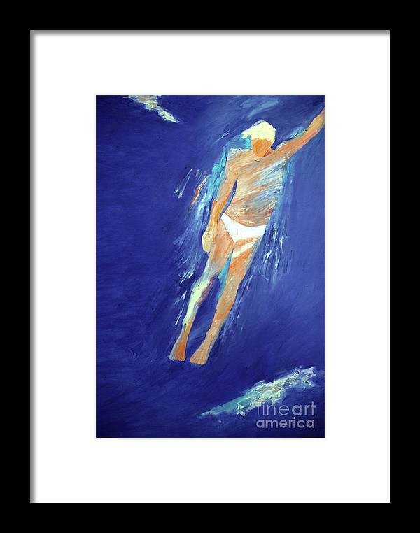Water Framed Print featuring the painting Swimmer Ascending by Lisa Baack