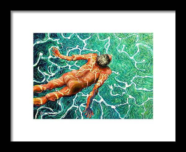 Man Framed Print featuring the painting Swimmer by Paul Sierra