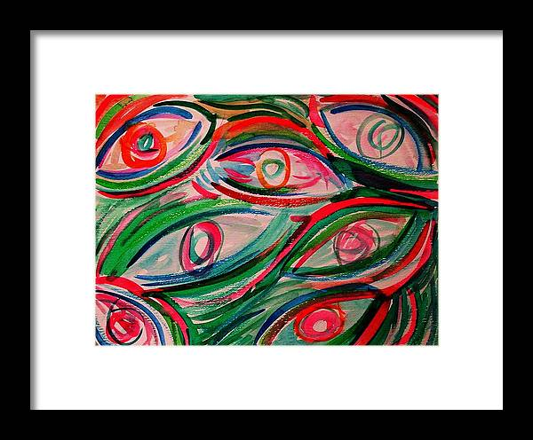 Digital Framed Print featuring the painting Swimming Eyes 2 by Margie Byrne