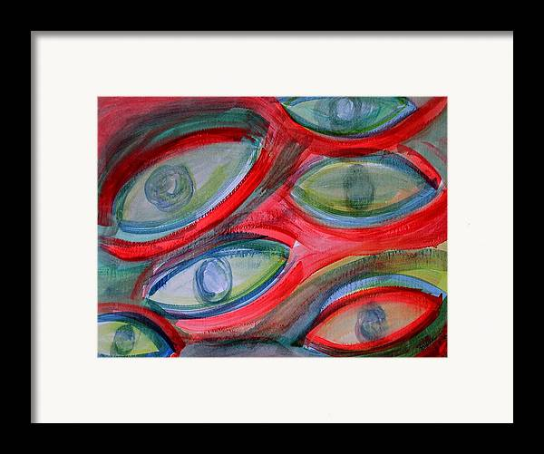 Eyes Framed Print featuring the painting Swimming Eyes by Margie Byrne