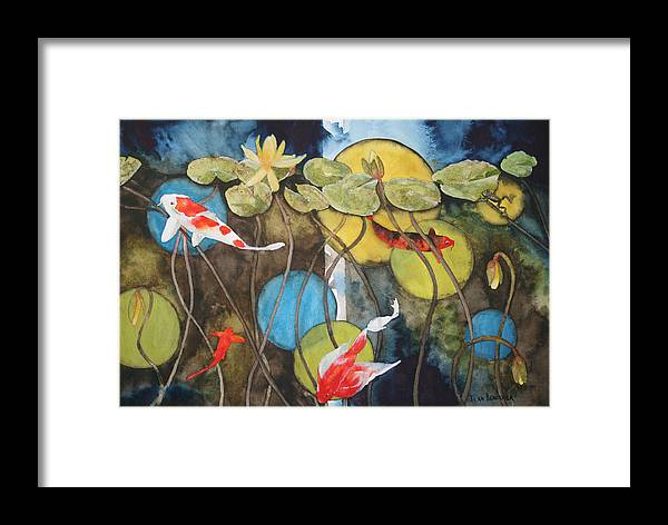 Abstract Framed Print featuring the painting Swimming In Circles by Jean Blackmer