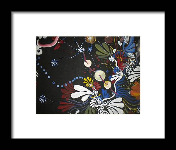 Abstract Framed Print featuring the painting Swimming In Darkness by Hollie Leffel