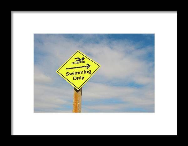 Helen Northcott Framed Print featuring the photograph Swimming Sign by Helen Northcott