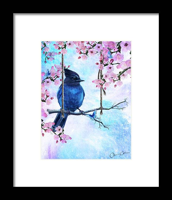 Bird Framed Print featuring the painting Swing Into Spring by Chris Cole
