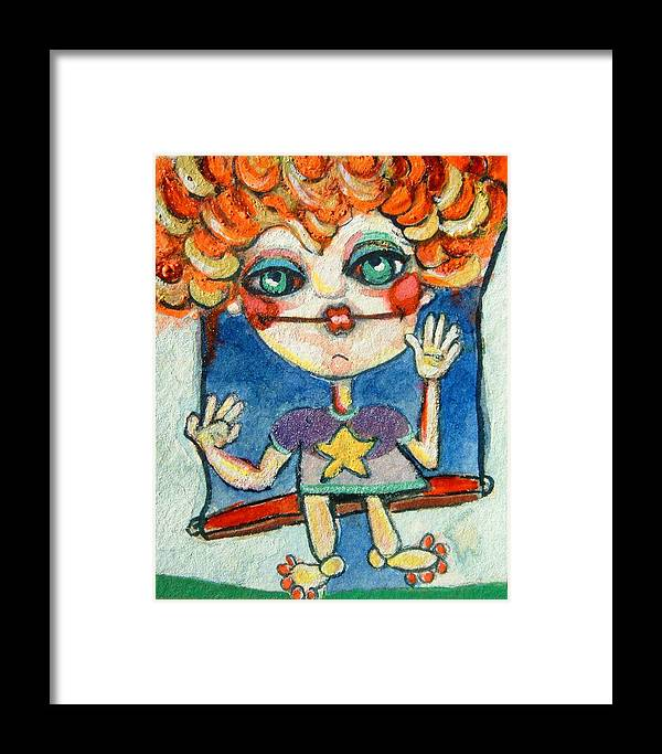 Child Art Framed Print featuring the painting Swinger by Michelle Spiziri